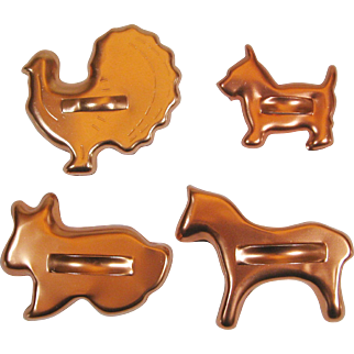 4 Vintage Animal Cookie Cutters Copper Color Aluminum Horse Scotty Dog Turkey Bunny Rabbit