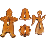 4 Vintage Christmas Copper Color Cookie Cutters Angel Bell Gingerbread Boy Anodized Aluminum