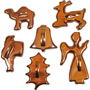 6 Vintage Anodized Copper Color Aluminum Cookie Cutters Camel Santa Holly Reindeer