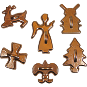 6 Vintage Anodized Copper Color Aluminum Cookie Cutters Windmill Christmas Tree Fleur De Lis