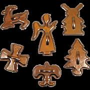 6 Vintage Anodized Copper Color Aluminum Cookie Cutters Windmill Christmas Tree Fleur De Lis