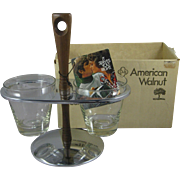 Vintage American Walnut Carousel Server Chrome Glass 114 MIB