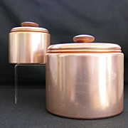 Set of 2 Mirro Mid Century Modern Copper Color Aluminum Canisters MCM Retro