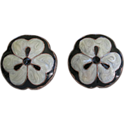Art Nouveau Enameled Copper Vintage Drawer Knob Pulls Matched Pair