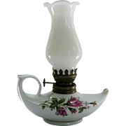 Vintage Mini Moss Rose Aladdin Oil Lamp Milk Glass Shade