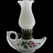 Vintage Mini Moss Rose Aladdin Oil Lamp Milk Glass Shade