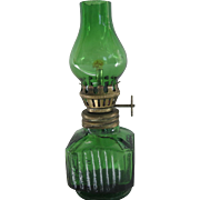 Vintage Mini Green Glass Oil Lamp Hong King 4.5 inches