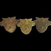 3 WWII Vintage West Point Military Academy Hat Cap Badges WPMA Provenance