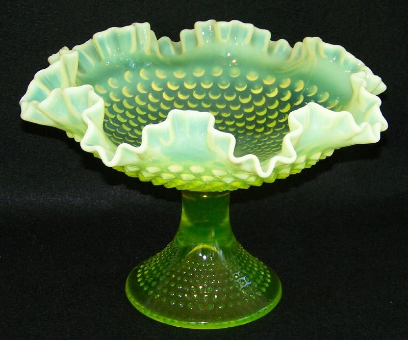 Large Fenton Topaz Opalescent Hobnail Compote - 11 ½""