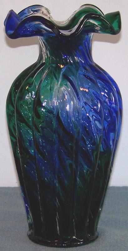 Fenton 6458 Spiral Optic Melon Vase HTF Blue Green