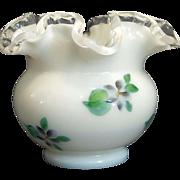 Vintage Fenton African Violet Silver Crest Rose Bowl Vase Rare Design Pre Logo