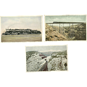 3 Postcards Harvey Railroad Train Vintage Postally Unused Fred Harvey