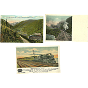 3 Vintage Railroad Train Postcards Postally Unused