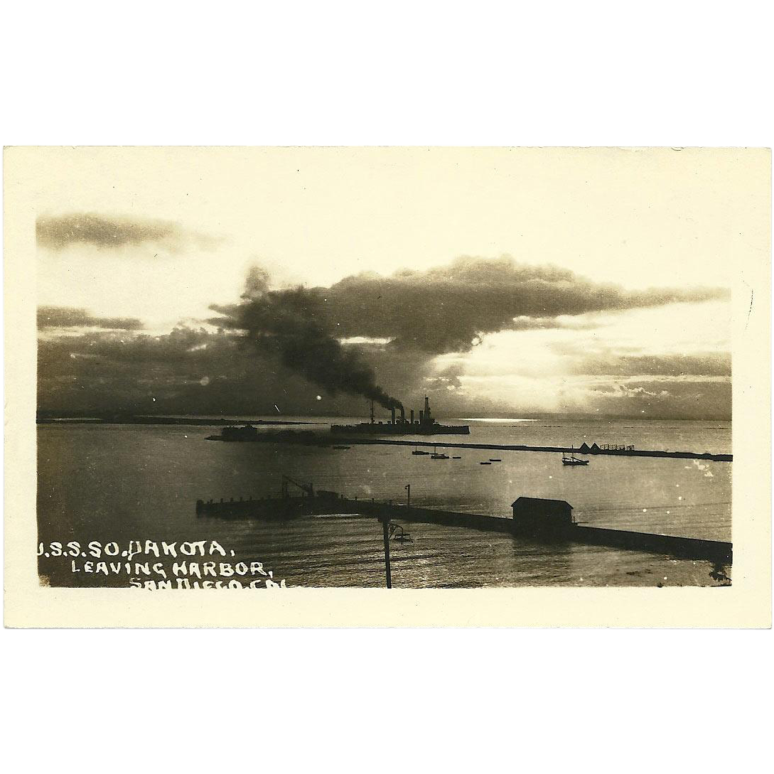 RPPC WWI USS So. Dakota Postcard Antique 1908 Real Photo Military Ship