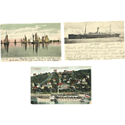3 Postcards 1907 Sailboat Steamship Paddle Wheel Boats Antique Maine Italy Dresden