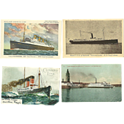 4 Vintage Steamship Cruise Postcards Antique Cunard Statendam Tamalpais Savannah