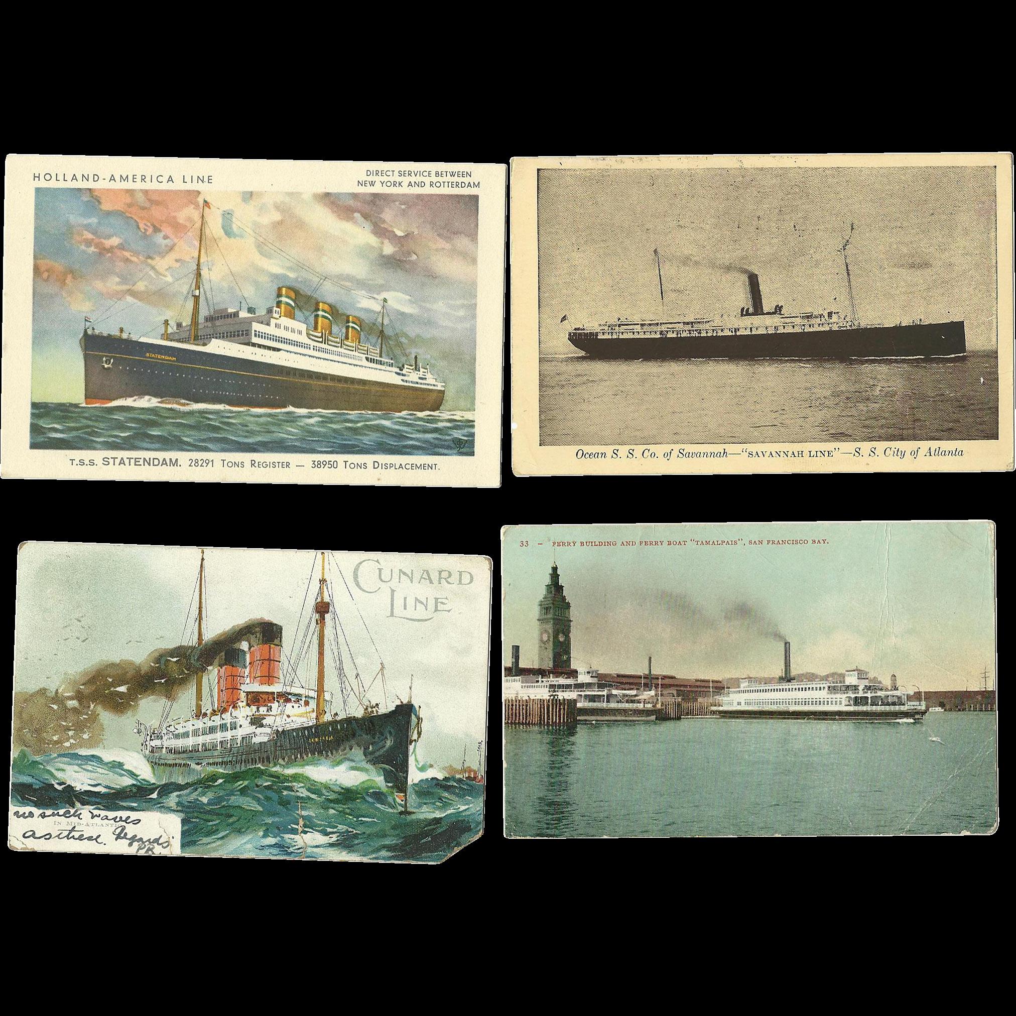 4 Vintage Steamship Cruise Postcards Antique Cunard Statendam Tamalpais Savannah