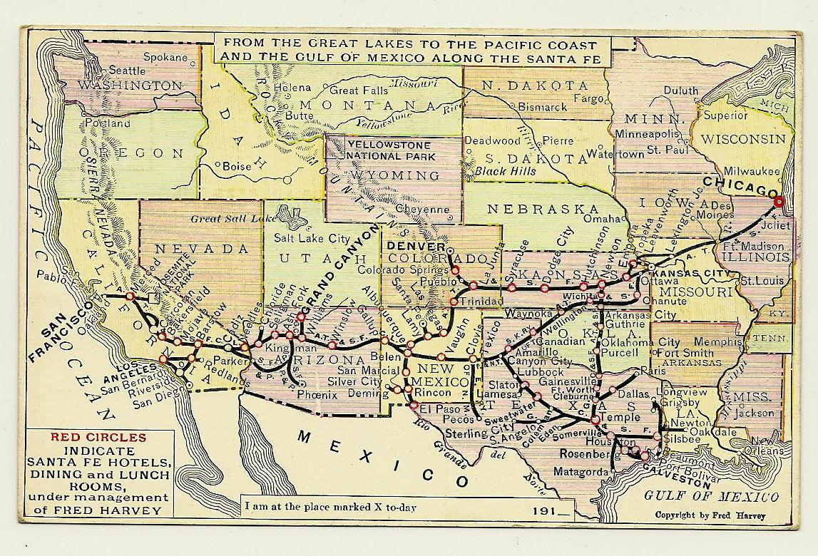 Santa Fe Railroad Map Postcard Antique Fred Harvey From