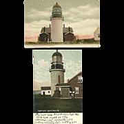 2 Seguin Light Lighthouse Postcards Maine Kennebec River 1909