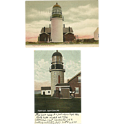 2 Seguin Light Lighthouse Postcards Maine Kennebec River 1909