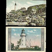 2 Cape Elizabeth Light Lighthouse Postcards Portland Head Lights aka Two Lights Maine