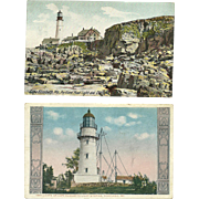 2 Cape Elizabeth Light Lighthouse Postcards Portland Head Lights aka Two Lights Maine