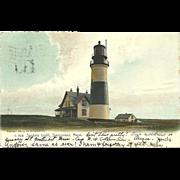Sankaty Light Lighthouse Massachusetts Postcard Antique 1906