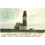 Sankaty Light Lighthouse Massachusetts Postcard Antique 1906