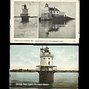 2 Spring Point Light Lighthouse Postcards Portland Maine Breakwater Lights Lodge