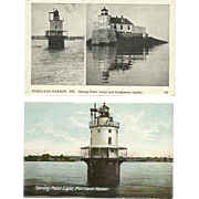 2 Spring Point Light Lighthouse Postcards Portland Maine Breakwater Lights Lodge