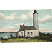 Rock Harbor Light House Michigan Postcard Lake Superior Lighthouse
