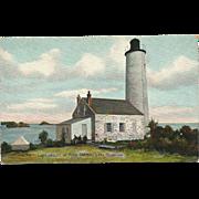 Rock Harbor Light House Michigan Postcard Lake Superior Lighthouse
