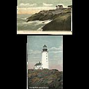 2 Maine Lighthouse Postcards Heron Neck Half-Way Rock 1908
