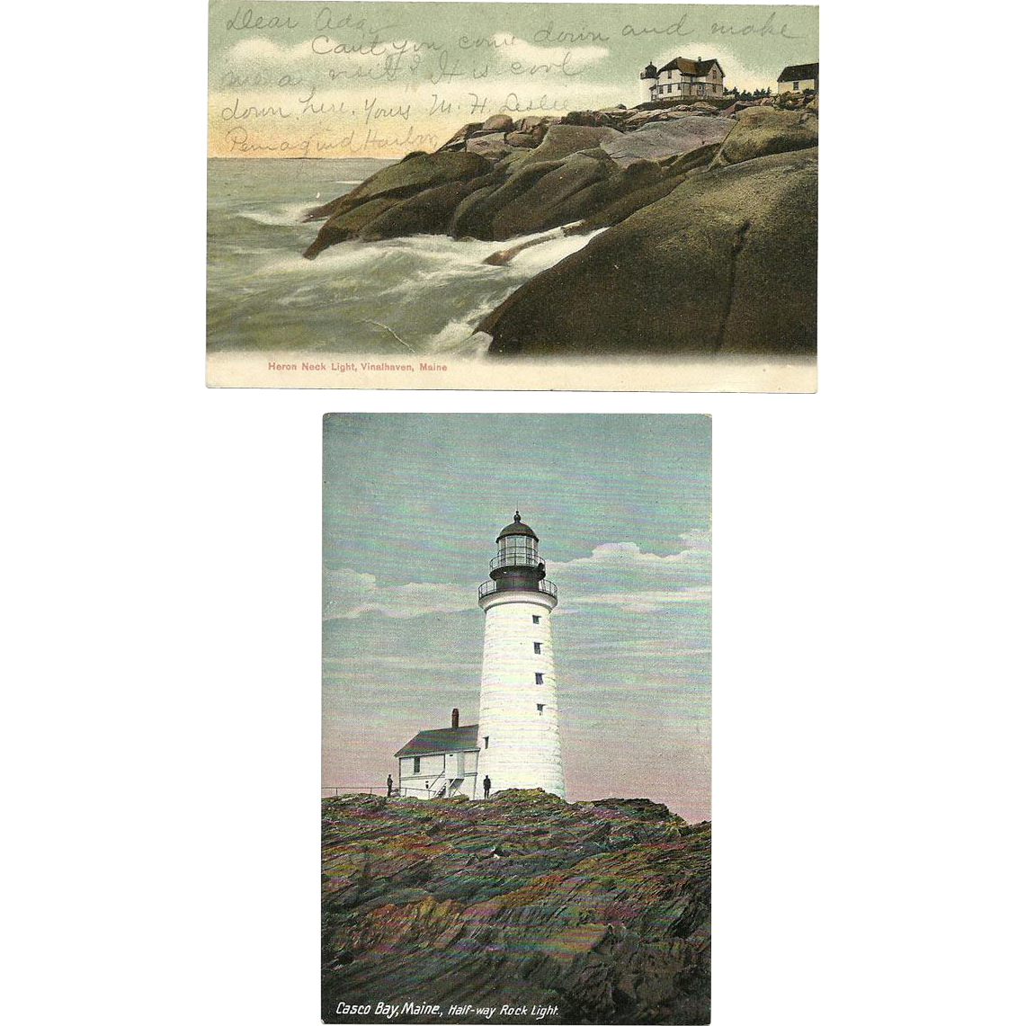 2 Maine Lighthouse Postcards Heron Neck Half-Way Rock 1908