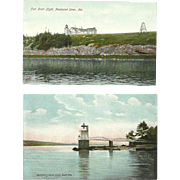 2 Maine Lighthouse Postcards Fort Point Light Doubling Point Light 1905