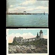 Maine Lighthouse Postcards Ram Island Light Burnt Island Antique Vintage
