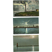 3 Moonlight Lighthouse Postcards Massachusetts Vermont Antique Marblehead Boston Lake Champlain