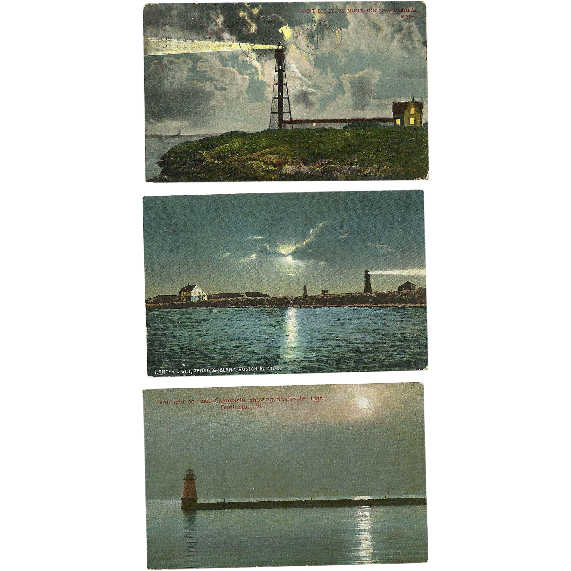 3 Moonlight Lighthouse Postcards Massachusetts Vermont Antique Marblehead Boston Lake Champlain