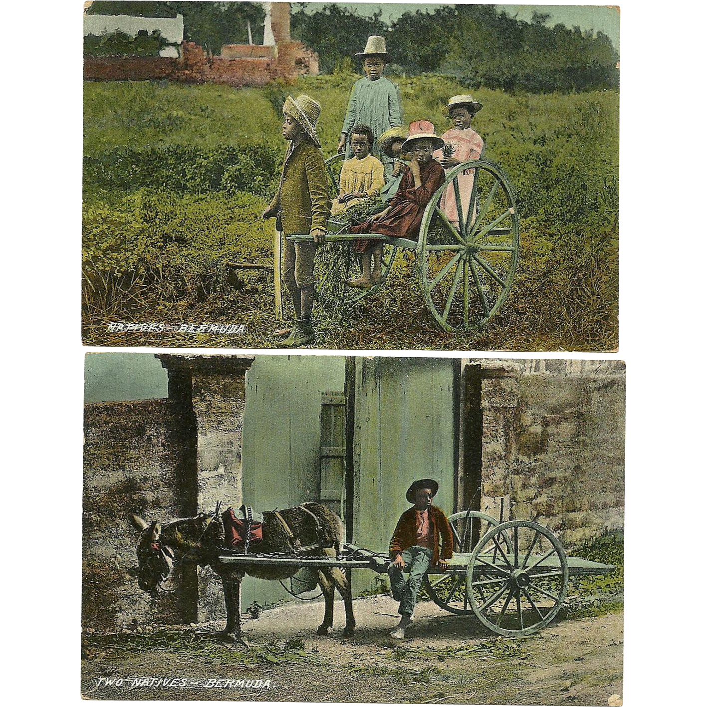 2 Bermuda Postcards Native Black Children Early Vintage