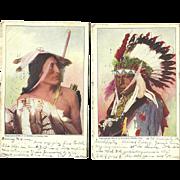 2 Native American Indian Omaha Postcards 1904 Antique Rinehart