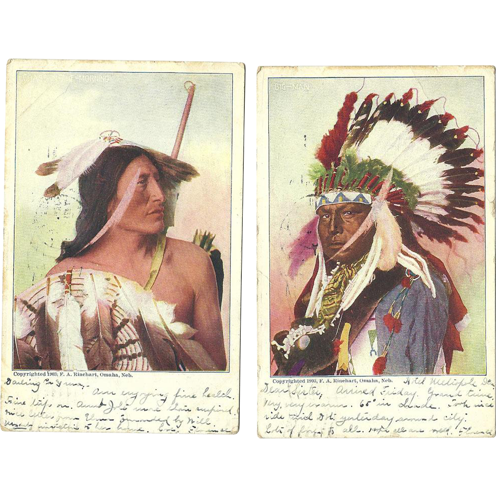 2 Native American Indian Omaha Postcards 1904 Antique Rinehart