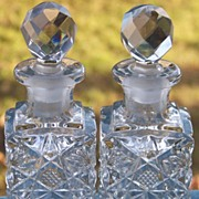 2 Vintage Square Perfume Cologne Bottles Clear