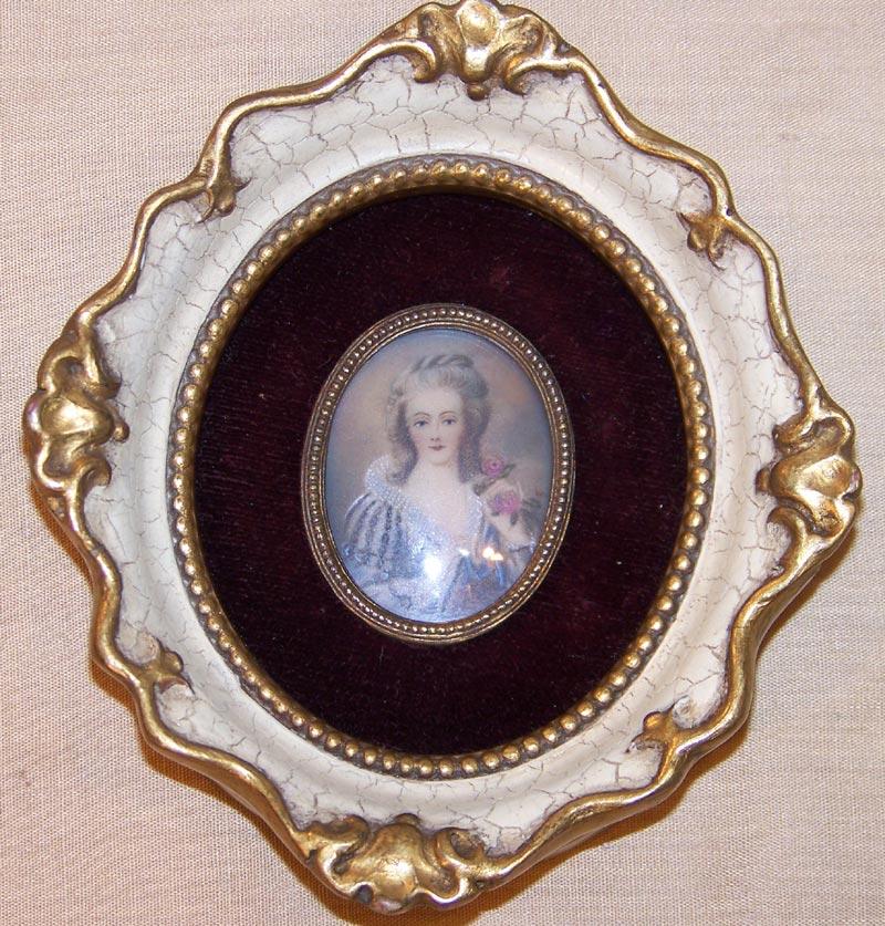 Framed Miniature Portrait  Artist Signed Lady Holding Roses