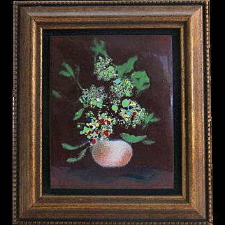 Vintage Framed Enamel Copper Floral Still Life ca 1970s