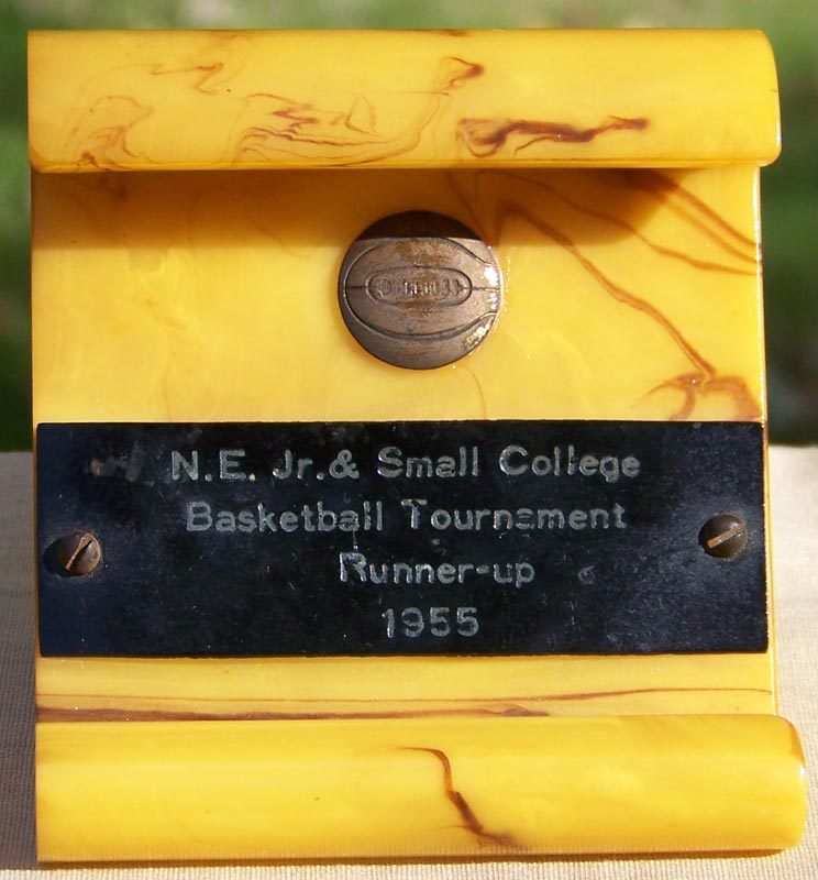 Bakelite Trophy Pen Holder for 1955 N.E. Jr. and Small College Basketball Tournament Runners Up