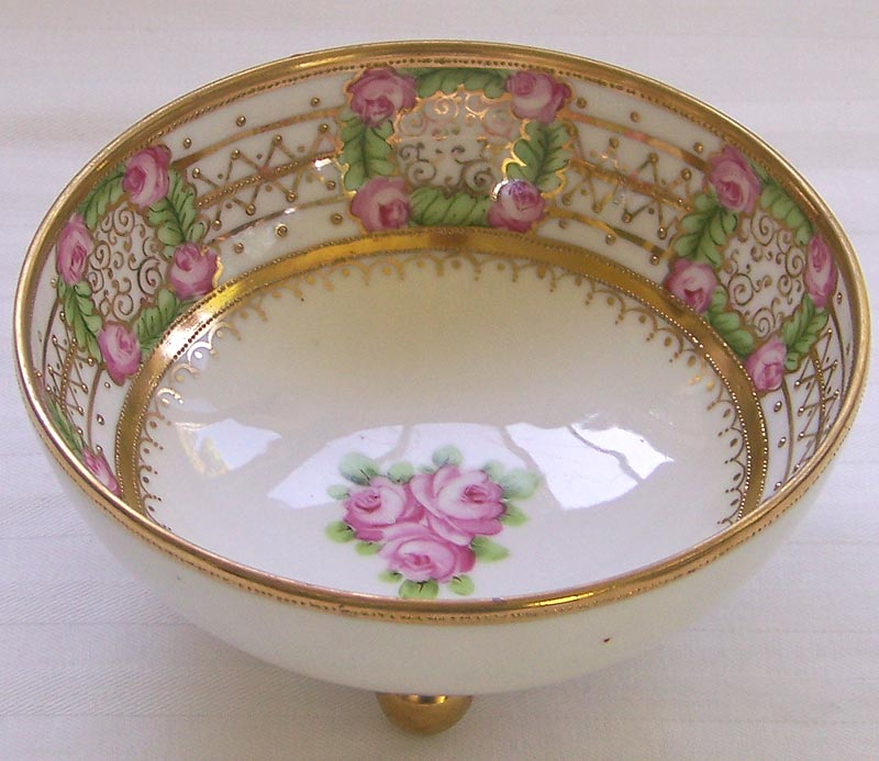 Antique RC Nippon Footed Mayo Bowl Gilt Beaded Roses circa 1911