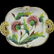 Vintage Italian Gilt Trim Handled Dish Thistle