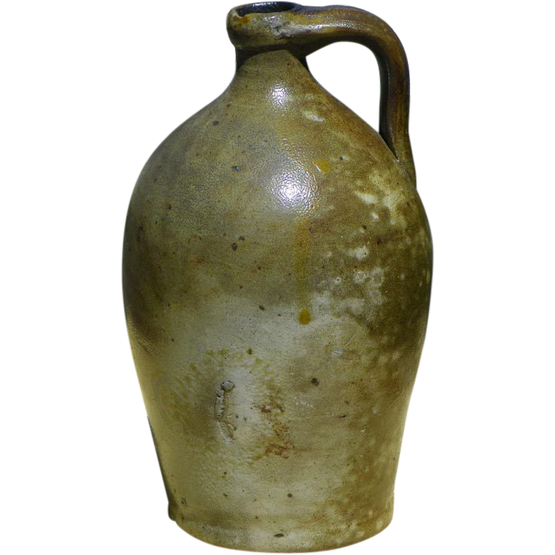 Antique Semi Ovoid 1 Quart Salt Glaze Stoneware Jug 1850 HTF Size
