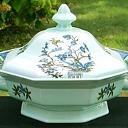 Adams China Calyx Ware Ming Toi Octagonal Covered Vegetable Bowl