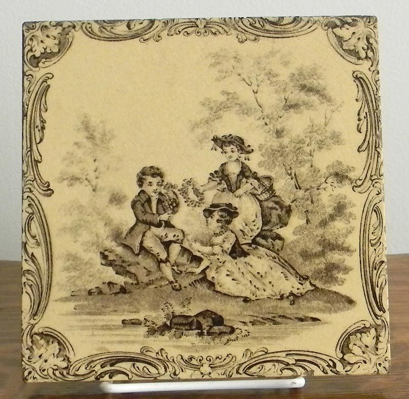 Mintons Sepia and Buff Watteau Tile, 3 Children, ca. 1880 Staffordshire